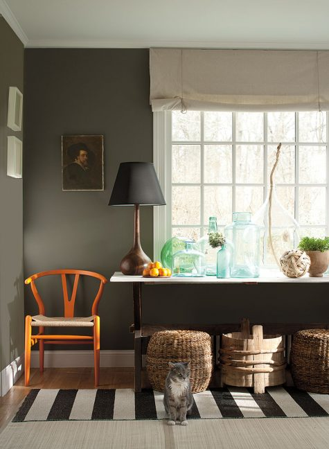 Benjamin Moore Williamsburg Color Collection, CW-80 Carter Gray(walls), CW-10 Capitol White (trim)