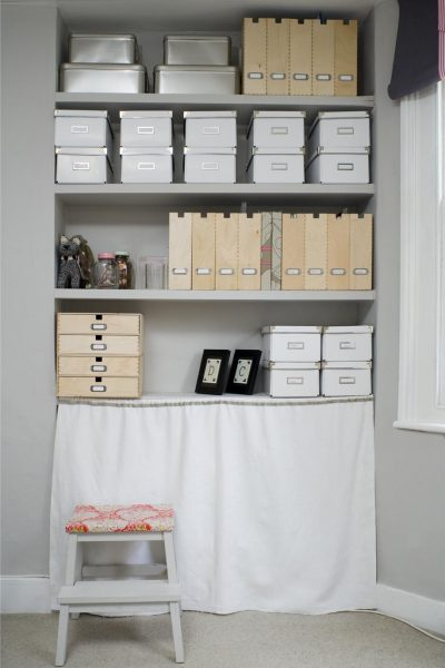 "Farrow and Ball ""A (very tidy!) office/study painted in Pavilion Gray"" from their inspiration site https://bit.ly/1aV0jil"