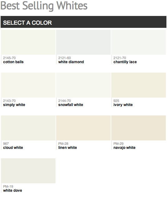 Benjamin Moore White Color Chart Car Interior Design