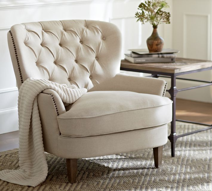 Cardiff Tufted Upholstered Arm Chair from Pottery Barn
