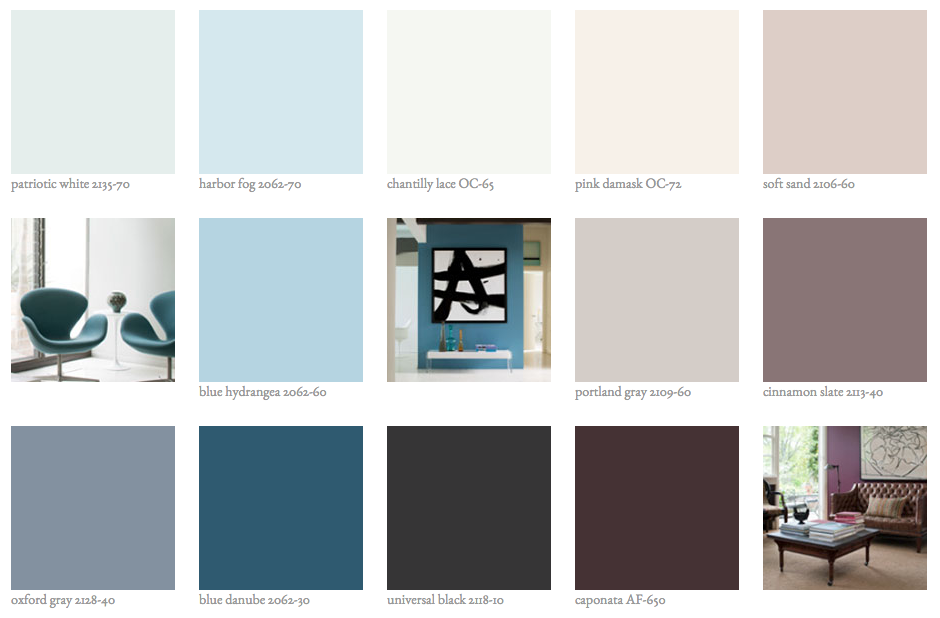benjamin moore color trend palette for 2015 blues