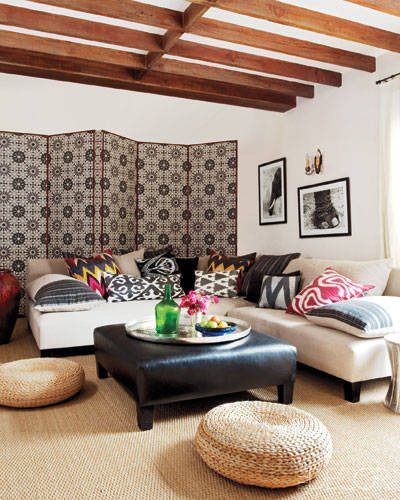 Boho Design, Get the look! Cozy celebrity family room