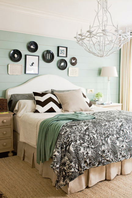 shiplap bedroom, Bedding Trends, Bedding Trends 2016, 7 ways to create your own focal point, master bedroom, chandelier in bedroom, black bedding, shiplap wall, painted shiplap, soothing bedroom colors