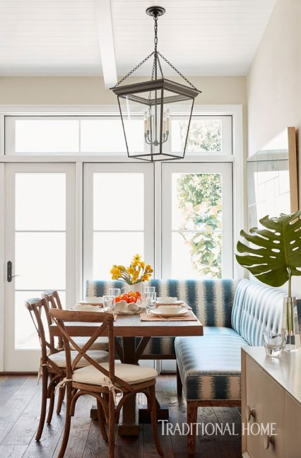 breakfast nook, stripe pattern