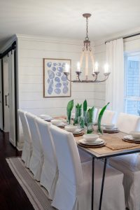 White Accessories, White Home Decor, Dining Room, shiplap, parsons chair