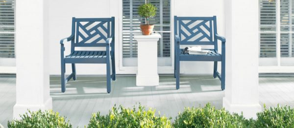 Paint Outdoor Furniture Blog Header Benjamin Moore Paint Colors. Porch:  Cliffside Gray PM 5, Chairs: Hamilton Blue PM 6, Siding: White PM 2