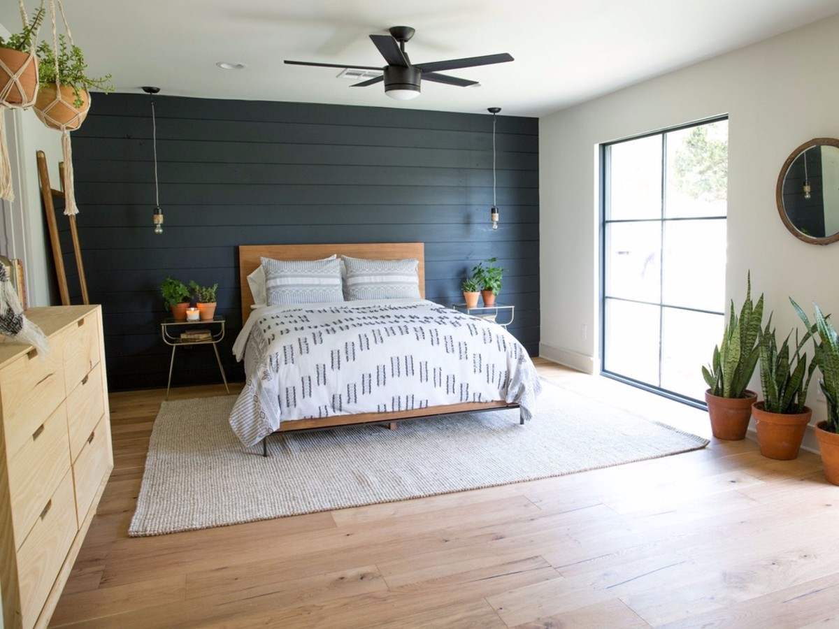 shiplap, painted accent wall