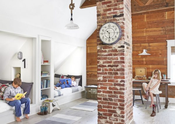 all-white room, kids space, shiplap