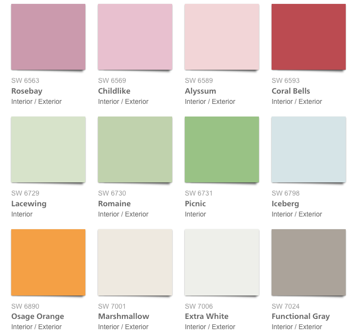 Pottery Barn Kids 2017 Spring:Summer Paint Colors