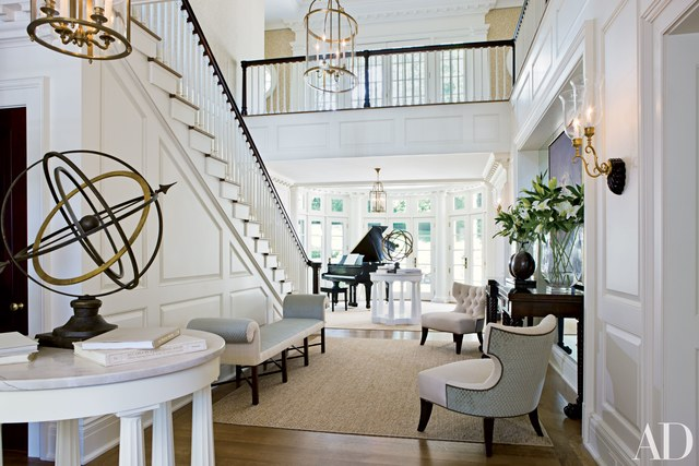 gold and brass home decor, staircases