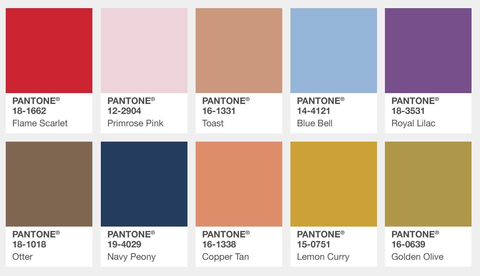 Pantone 2017 Fall Fashion Color Swatches, London