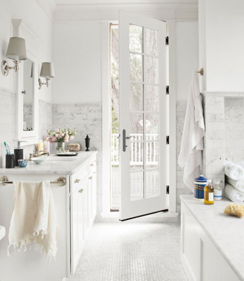 white bathroom with Carrar Marble