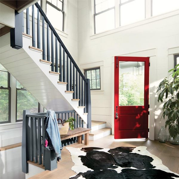 entryway bench, wood and white, Benjamin Moore, Caliente AF-290, Wolf Gray 2127-40, White Opulence OC-69