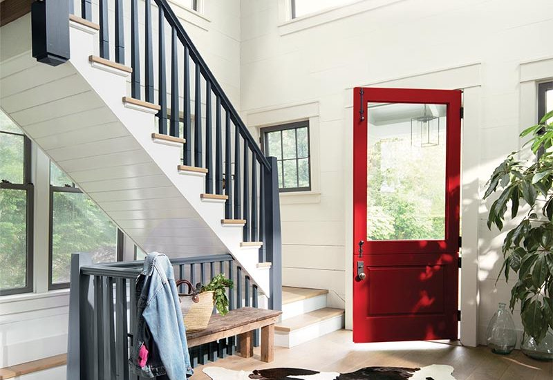 wood and white, Benjamin Moore, Caliente AF-290, Wolf Gray 2127-40, White Opulence OC-69