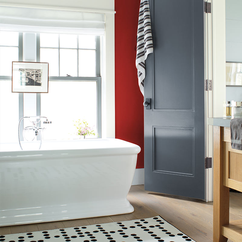 Spa-like bathroom, Benjamin Moore, Caliente AF-290