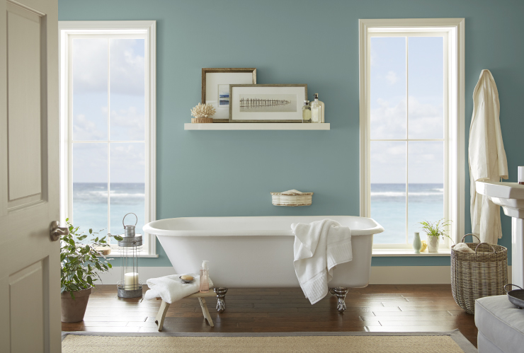 Spa-like bathroom, Behr Paint 2018 Color of the Year, In The Moment, Bathroom