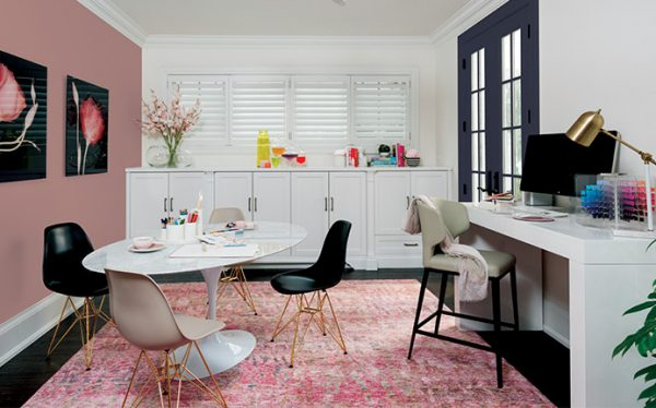 Ppg 2018 Color Of The Year Black Flame A Home Office Featuring Paired With Millennial Pinks White