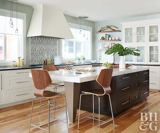 white kitchens, two-tone kitchen cabinets