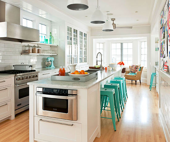 Kitchen, white & wood, turquoise accessories