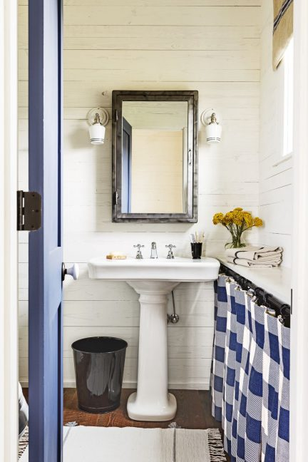 powder room, blue and white, shiplap, farmhouse