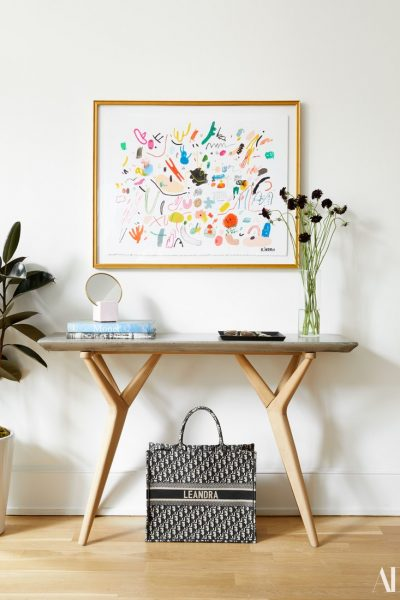entryway, foyer, console table, artwork