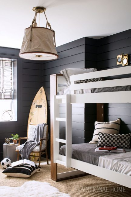 August 24, bunk bed, black and white, roman shade, kids bedroom