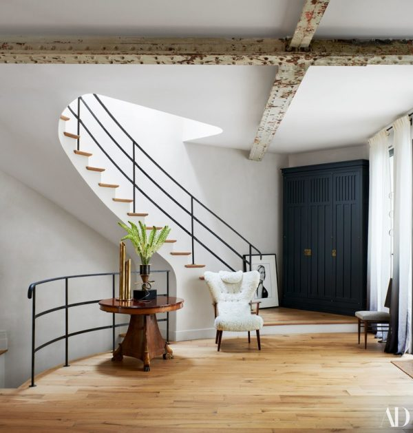 staircases, white and wood, black and white